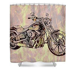 Shower Curtain featuring the mixed media Harley Motorcycle On Flames by Dan Sproul