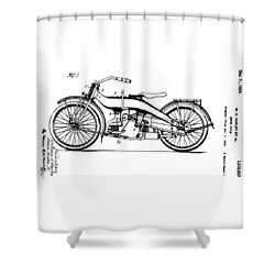 Harley Motorcycle Patent Shower Curtain by Bill Cannon
