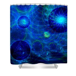 Shower Curtain featuring the digital art Harmonic Galaxies by Fran Riley