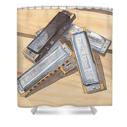 Harmonica Pile Shower Curtain by Ken Powers
