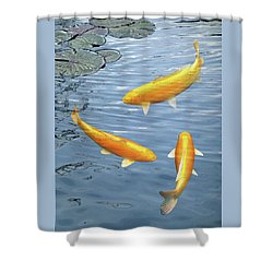 Shower Curtain featuring the photograph Harmony - Golden Koi by Gill Billington