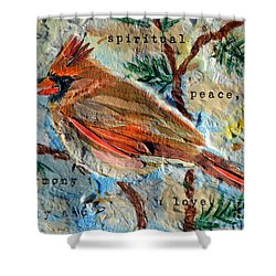 Shower Curtain featuring the mixed media Harmony by Li Newton