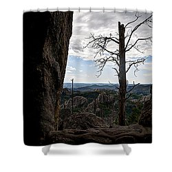 Harney Peak Lookout Shower Curtain by Deborah Klubertanz