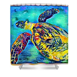 Harold The Turtle Shower Curtain by Erika Swartzkopf