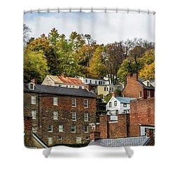 Shower Curtain featuring the photograph Harpers Ferry In Autumn by Ed Clark