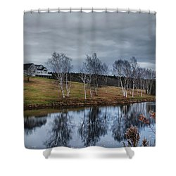 Harpswell Birches 14399 Shower Curtain by Guy Whiteley