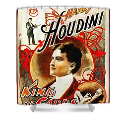 Harry Houdini - King Of Cards Shower Curtain by Bill Cannon