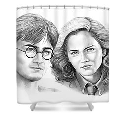 Harry Potter And Hermione Shower Curtain by Murphy Elliott