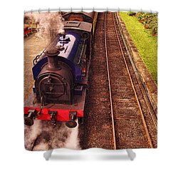 Harry Potters Haverthwaite Railway Station Shower Curtain by Graham Hawcroft pixsellpix