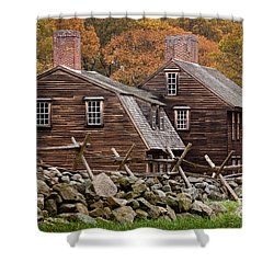 Hartwell Tarvern In Autumn Shower Curtain by Susan Cole Kelly