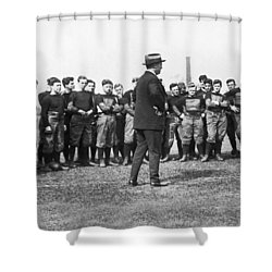 Harvard Football Practice Shower Curtain by Underwood Archives