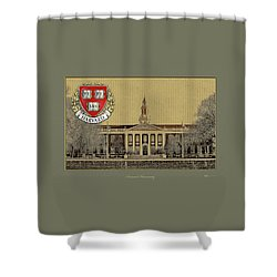 Harvard University Building Overlaid With 3d Coat Of Arms Shower Curtain by Serge Averbukh