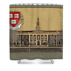 Harvard University Building With Seal Shower Curtain by Serge Averbukh
