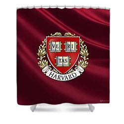 Harvard University Seal Over Colors Shower Curtain by Serge Averbukh