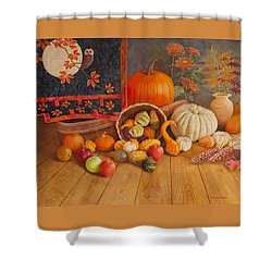 Shower Curtain featuring the painting Harvest Bounty by Nancy Lee Moran