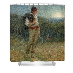 Harvest Moon Shower Curtain by Helen Allingham