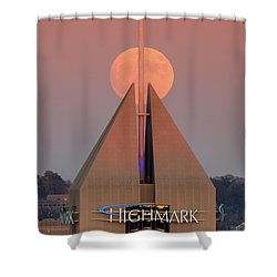 Shower Curtain featuring the photograph Harvest Moon In Pittsburgh  by Emmanuel Panagiotakis