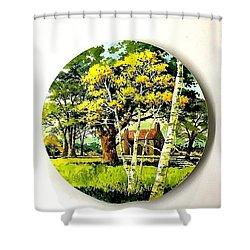 Harvest Moon Landscape Shower Curtain