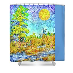 Shower Curtain featuring the digital art Harvest Moon On Crystal Mountain - Boulder County Colorado by Joel Bruce Wallach