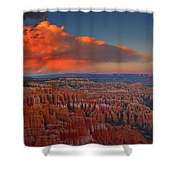 Harvest Moon Over Bryce National Park Shower Curtain by Raymond Salani III
