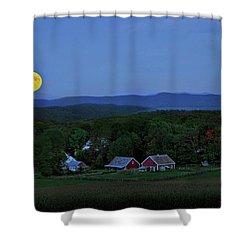 Harvest Moon Over Peacham Vermont Shower Curtain