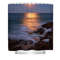 Harvest Moon Rising Over Beach Rocks On Hutchinson Island Florida During Twilight. Shower Curtain by Justin Kelefas