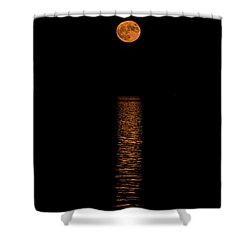 Shower Curtain featuring the photograph Harvest Moonrise by Paul Freidlund