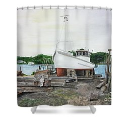 Shower Curtain featuring the painting Harvey A. Drewer by Stan Tenney