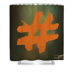 Shower Curtain featuring the digital art Hashtag by Jim  Hatch