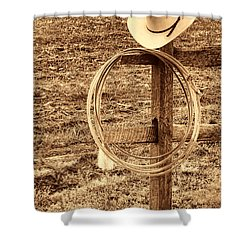Hat And Lariat On A Post Shower Curtain by American West Legend By Olivier Le Queinec