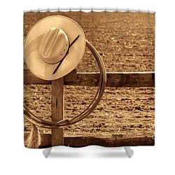 Hat And Lasso On A Fence Shower Curtain by American West Legend By Olivier Le Queinec