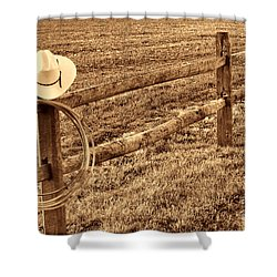 Hat And Lasso On Fence Shower Curtain by American West Legend By Olivier Le Queinec