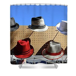 9047cf36eee Hats Selection Day Dead Shower Curtain Hats Selection Day Dead. Chuck Kuhn