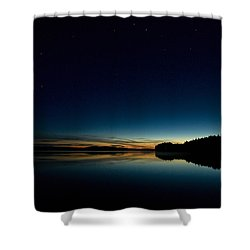 Shower Curtain featuring the photograph Haukkajarvi By Night With Ursa Major 1 by Jouko Lehto