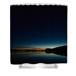Shower Curtain featuring the photograph Haukkajarvi By Night With Ursa Major 2 by Jouko Lehto