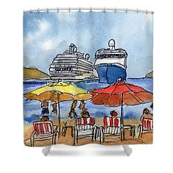 Hautuco Dock Shower Curtain by Randy Sprout