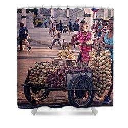 Shower Curtain featuring the photograph Havana Cuba Onion Cart by Joan Carroll