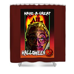 Shower Curtain featuring the painting Have A Great Halloween by Ted Azriel