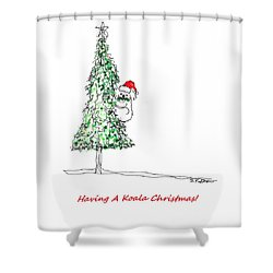 Having A Koala Christmas Shower Curtain