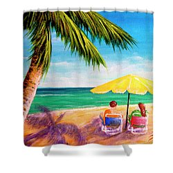 Hawaii Beach Yellow Umbrella #470 Shower Curtain by Donald k Hall