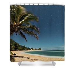 Hawaii Moonlit Beach Wainiha Kauai Hawaii Shower Curtain