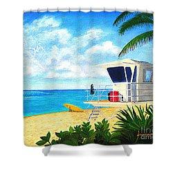 Hawaii North Shore Banzai Pipeline Shower Curtain by Jerome Stumphauzer
