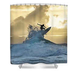 Hawaii Surfing Sunset Polihali Beach Kauai Shower Curtain