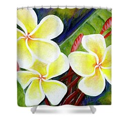 Hawaii Tropical Plumeria Flower #298, Shower Curtain by Donald k Hall