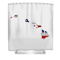 Shower Curtain featuring the painting Hawaii Typographic Map Flag by Inspirowl Design