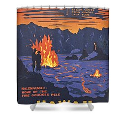 Hawaii Vintage Travel Poster Shower Curtain
