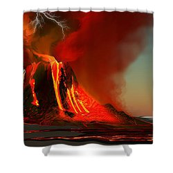 Hawaii Volcano Shower Curtain by Corey Ford