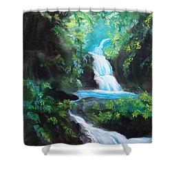 Hawaiian Waterfalls Shower Curtain by Jenny Lee