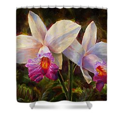 Hawaiian Bamboo Orchid Shower Curtain by Karen Whitworth