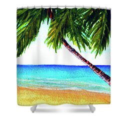 Hawaiian Beach Palm Trees  #425 Shower Curtain by Donald k Hall